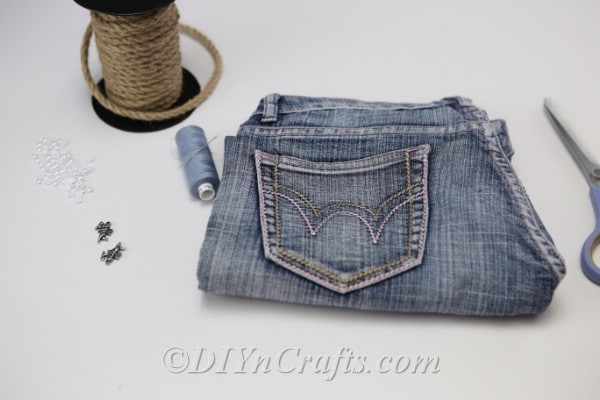 Supplies for homemade denim bag