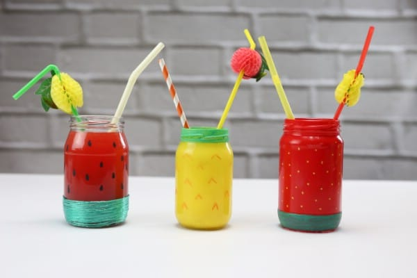 How to Make Summery Painted Fruit Drinking Jars