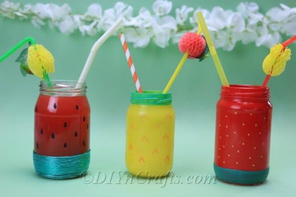 Beverages look refreshing served in these summer fruit drink jars.