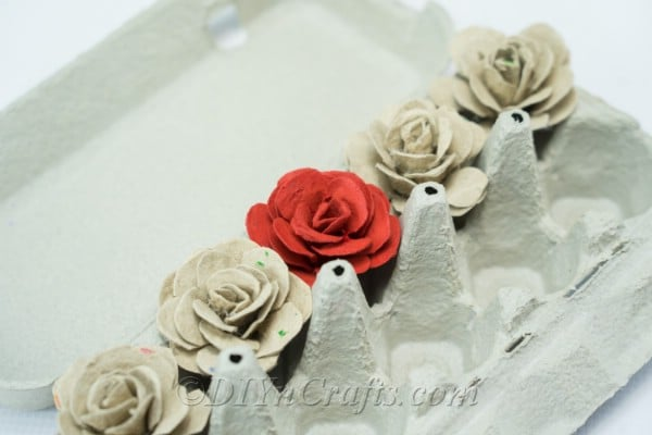Easy to make egg carton roses.