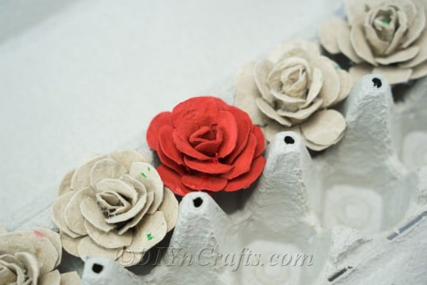 Only a few supplies are needed to make egg carton roses.