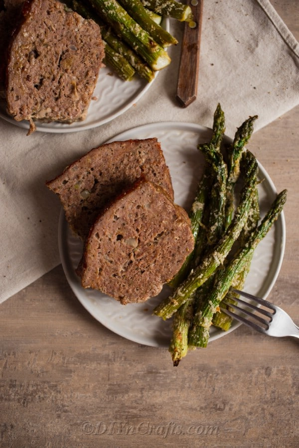 BBQ Meatloaf recipe with barbecue sauce glaze served with roasted parmesan asparagus