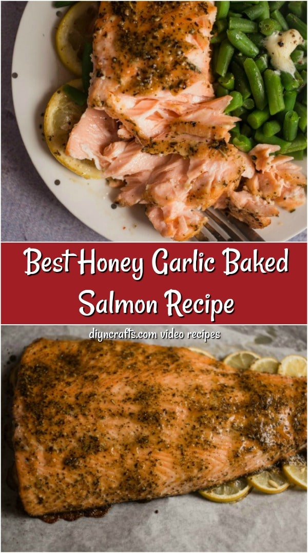 Overhead pictures of honey roasted garlic salmon recipe on a plate