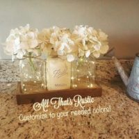 Rustic Lighted Jar Centerpiece