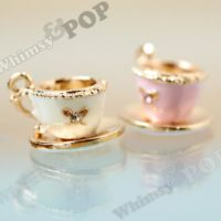 3D Teacup Charm, Gold Tone Teacup Crystal Rhinestone Detailed Charm