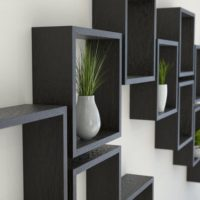 Black Oak Square Wall Shelf