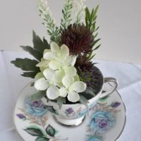 Vintage teacup with Scottish wildflower bunch & BlackWatch tartan