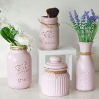 Light pastel Pink mason storage jar and vase collection