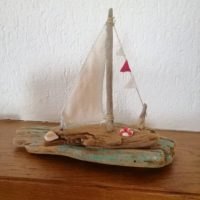 Driftwood boat, nautical decor