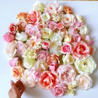 50 cream, coral pink and peach silk rose and peony mix