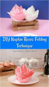 How to fold napkins into flowers tutorial displayed pink and white napkins on a white plate