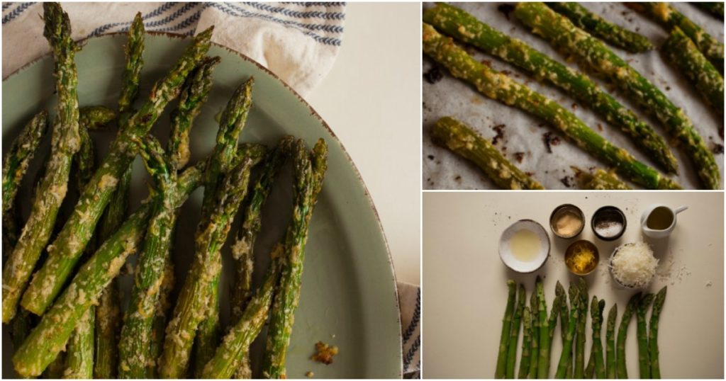 Roasted Asparagus with Garlic and Parmesan Cheese collage image of ingredients and prepared vegetable