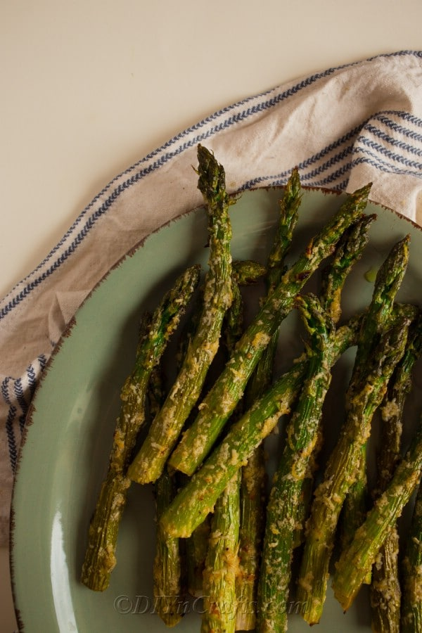 Prepared garlic parmesan asparagus spears ready to be served