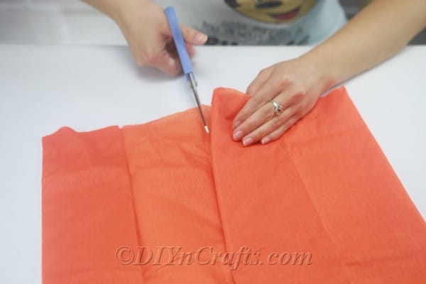 Cut and fold a large piece of tissue paper