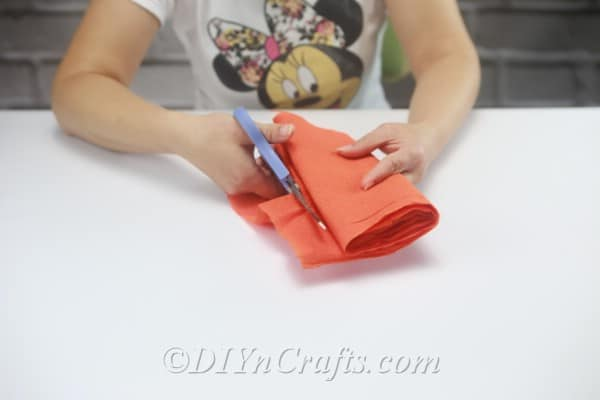 Cut along the sides of your folded tissue paper to make many smaller strips.
