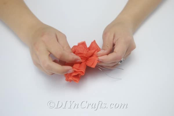 Begin pulling apart the layers of the tissue paper until you have created a ball shape.