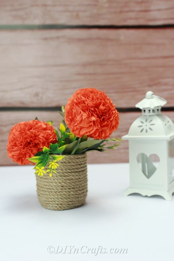 Two tissue paper ball flowers are displayed in an arrangement against a wood backdrop.