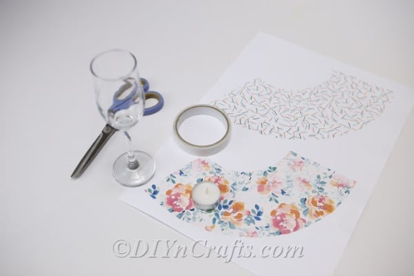 Supplies for DIY wine glass lantern tealight candle holders