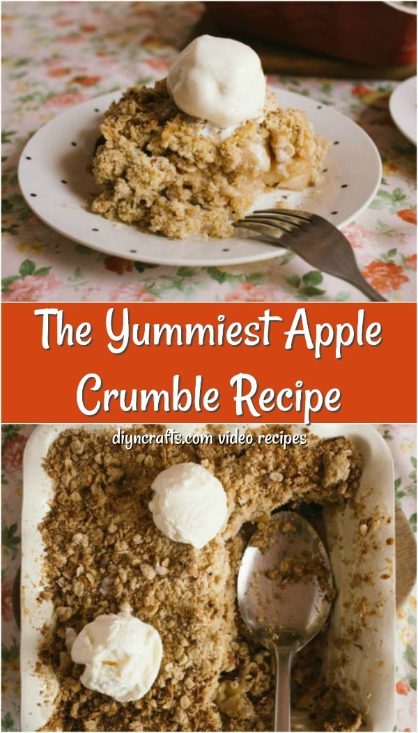 Collage picture of apple crumble recipe finished and topped with whipped topping