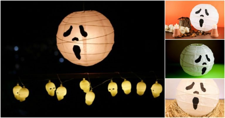 Collage picture showing ghost paper lanterns displayed in various ways for Halloween party decorations