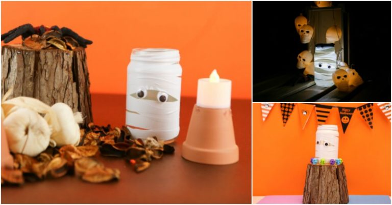 How to turn mason jar lights into mummy Halloween decorations