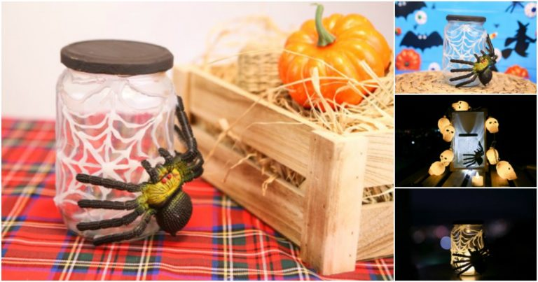 Collage picture of halloween spider web jar displayed on various surfaces