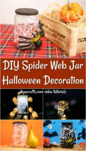 Collage picture of a homemade halloween spider web candy jar decoration