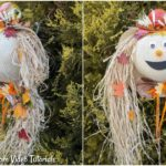 Collage image of harvest decor lady scarecrow outside against greenery