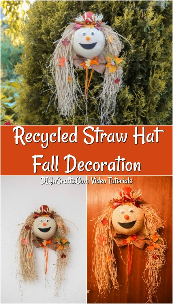 Fun recycled straw hat harvest decor scarecrow tutorial