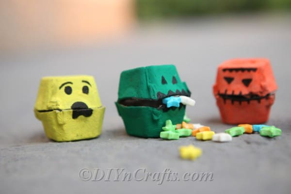 Monster treat boxes on ground