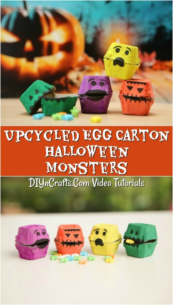 Check out these fun recycled egg carton halloween monsters