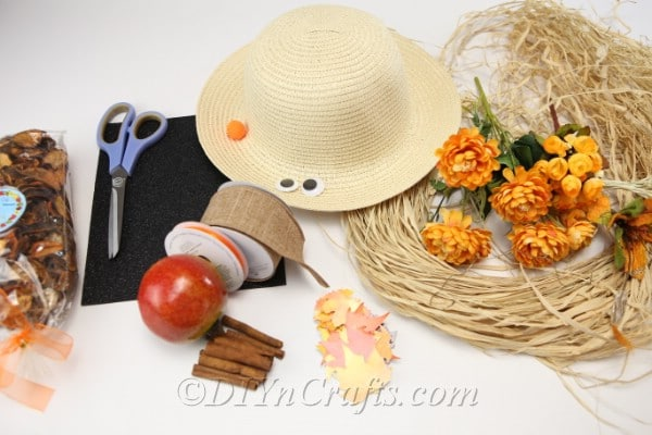 Supplies for making a harvest decor scarecrow lady
