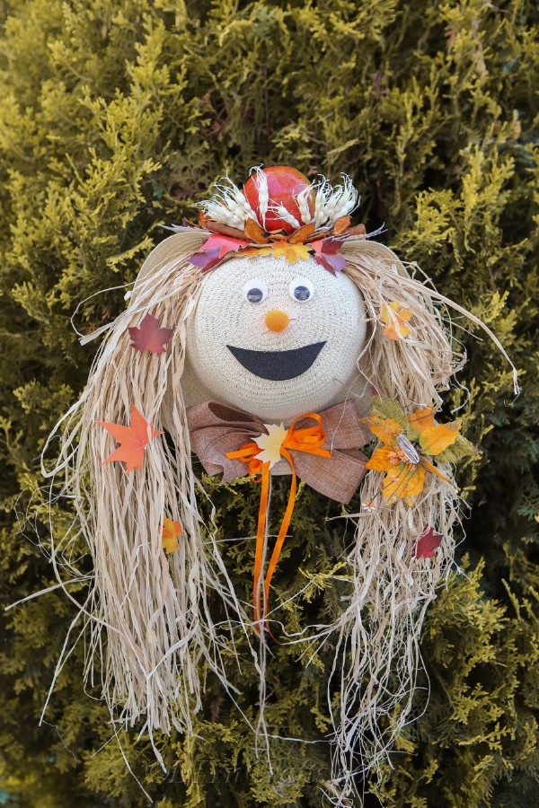A lady scarecrow harvest decor sitting on a green shrub outside