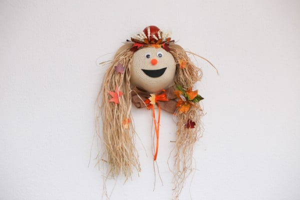 Recycled Straw Hat Lady Scarecrow Harvest Decor