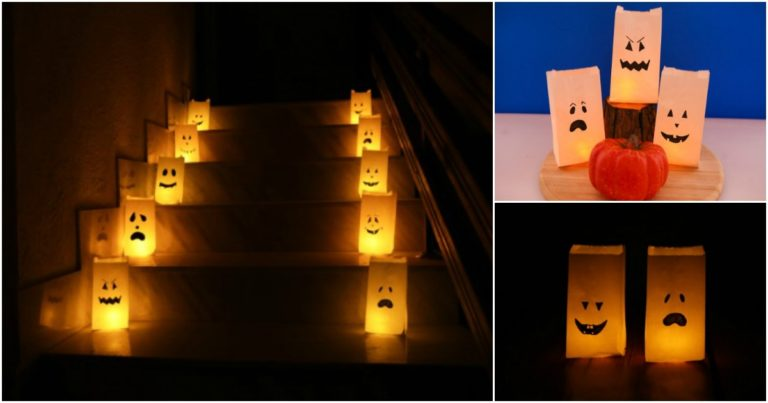 How to make Halloween Monster and Ghost luminary bags