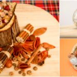 Collage picture of glitter acorns in various displays as a fun harvest craft