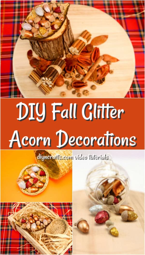 Harvest decor made out of glitter painted acorns
