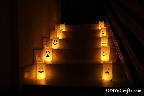 Luminaries lighting a walkway