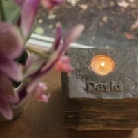 Custom Stone Memorial Candle Holder