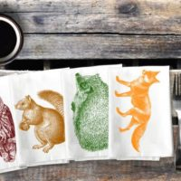 Woodland Animal Napkins Forest Critter Cloth Napkin Set