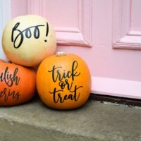 Modern pumpkin stickers Halloween decor