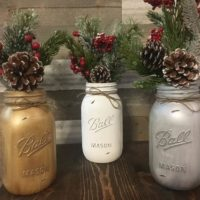 Set of 3 Quart Size Ball Painted and Distressed Mason Jars.