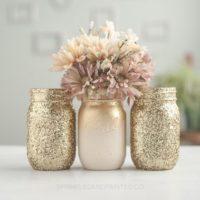 3 Gold Glitter Vases