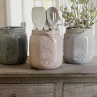 Mason Jar ceramic utensil holder