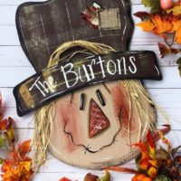 Fall Scarecrow Door Hanger Personalized Outdoor Decor