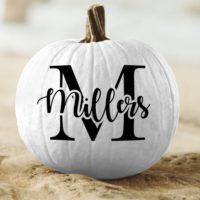 Personalized Pumpkin Monogram and Name Vinyl Decal