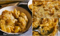 A collage image of baked mac and cheese