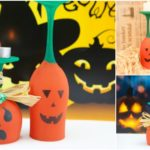Picture of pumpkin art wine glasses sitting on a variety of halloween surfaces