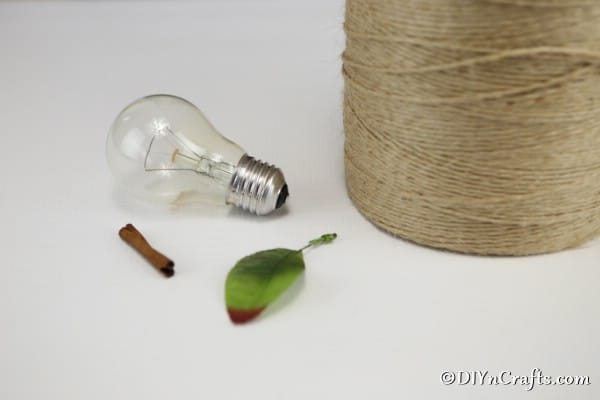 Supplies needed to create a twine wrapped fruit decoration