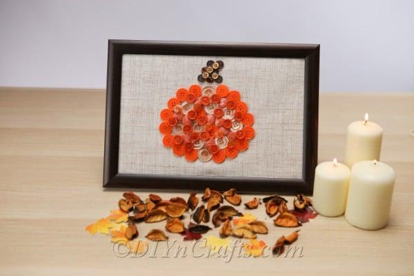 Pumpkin button wall art